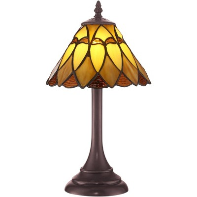 "Robert Louis Tiffany Mission Accent Table Lamp 14"" High LED Warm Brown Amber Art Glass Shade for Bedroom Bedside Nightstand Office"