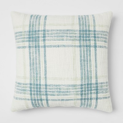 Plaid Square Throw Pillow Cream/Blue - Threshold™