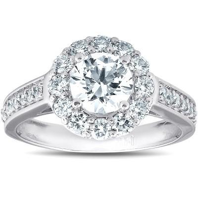 Pompeii3 2 Ct Diamond & Moissanite Halo Engagement Ring 14k White Gold