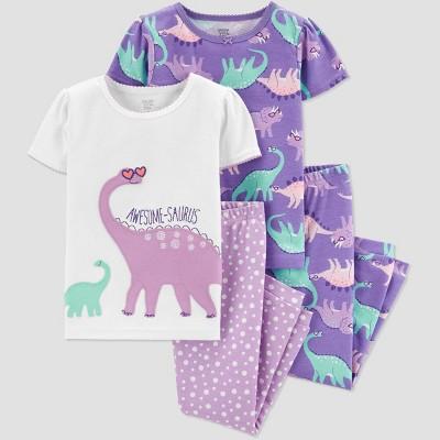 Baby Girls' 4pc Purple Dino Pajama Set - Just One You® made by carter's Purple/White 18M
