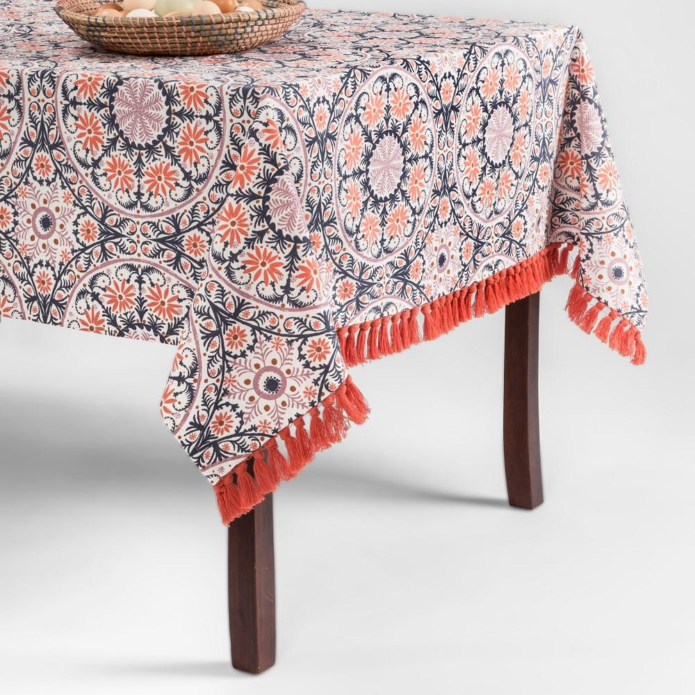 Orange/Blue Medallion Fringed Tablecloth 60