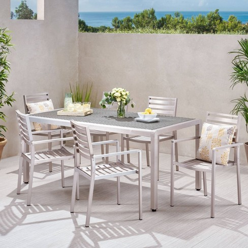 Cape Coral 7pc Aluminum & Wicker Table Top Dining Set - Silver - Christopher Knight Home - image 1 of 4