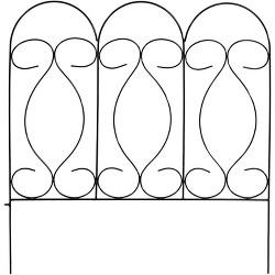 "24"" x 10' Traditional Border Fence 5pc - Black - Sunnydaze Decor"