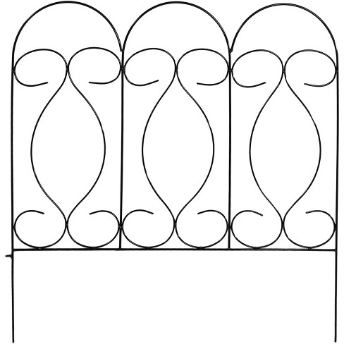 Sunnydaze Outdoor Lawn and Garden Metal Traditional Style Decorative Border Fence Panel Set - 10' - Black - 5pk - image 1 of 4