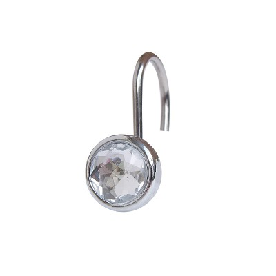 Acrylic Jewel Shower Curtain Hooks Light Silver Set of 12 - Elegant Home Fashions