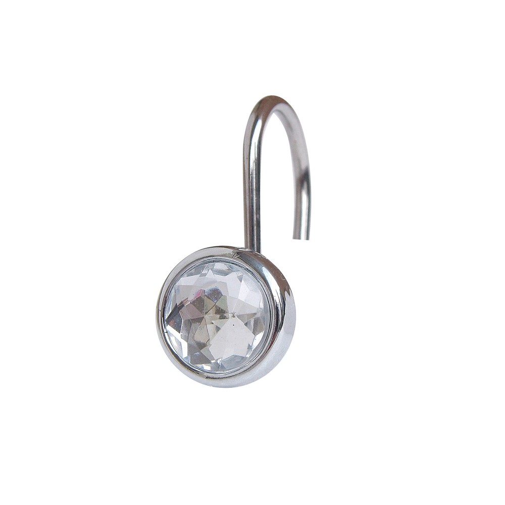 Image of Acrylic Jewel Shower Curtain Hooks Light Silver Set of 12 - Elegant Home Fashions