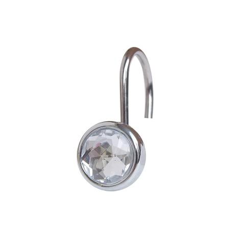 Acrylic Jewel Shower Curtain Hooks Light Silver Set Of 12