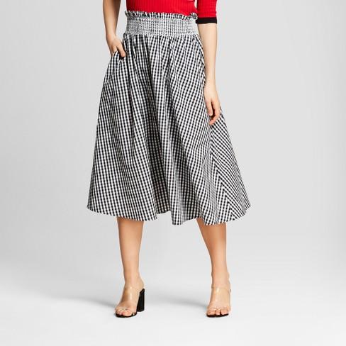 76ae93f5ee9 Women s Gingham Smocked Waist Midi Skirt - Who What Wear™ Black XS ...