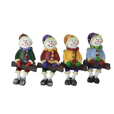 """Northlight Club Pack of 48 Vibrantly Colored Sitting Snowman with Ski Tabletop Figurines 5"""""""