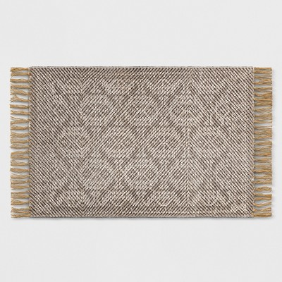 Gray Damask Woven Accent Rugs 2'X3' - Threshold™