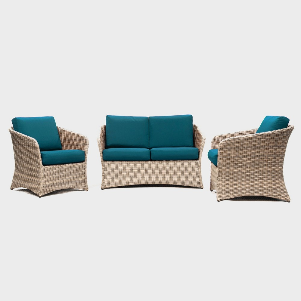 Montgomery 3pc Patio Seating Set - Teal (Blue) - Leisure Made