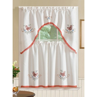 Ramallah Trading Regal Embroidered Butterfly Kitchen Curtain Set - 60 x 36, Red