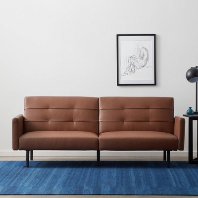 Comfort Collection Futon Sofa Bed with Buttonless Tufting Brown Faux Leather - Lucid