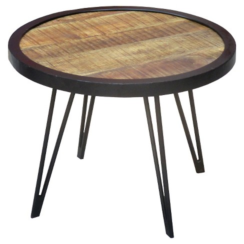 Reclaimed Wood Round Coffee Table Small 18h X 24w 24d Natural Timber