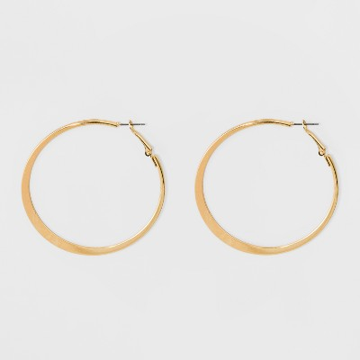 Large Knife Edge Hoop Earrings - A New Day™ Gold