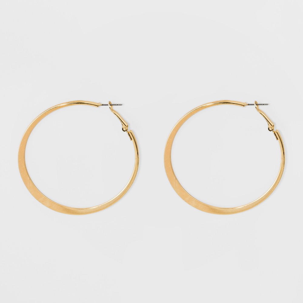 Large Knife Edge Hoop Earrings A New Day 8482 Gold