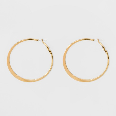 Large Knife Edge Hoop Earrings - A New Day™ Gold - image 1 of 3