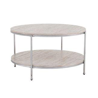 Sula Round Faux Stone Cocktail Table Chrome - Aiden Lane