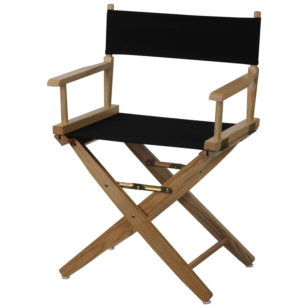 """Image of """"18"""""""" Extra Wide Directors Chair Natural Frame Black - Flora Home"""""""