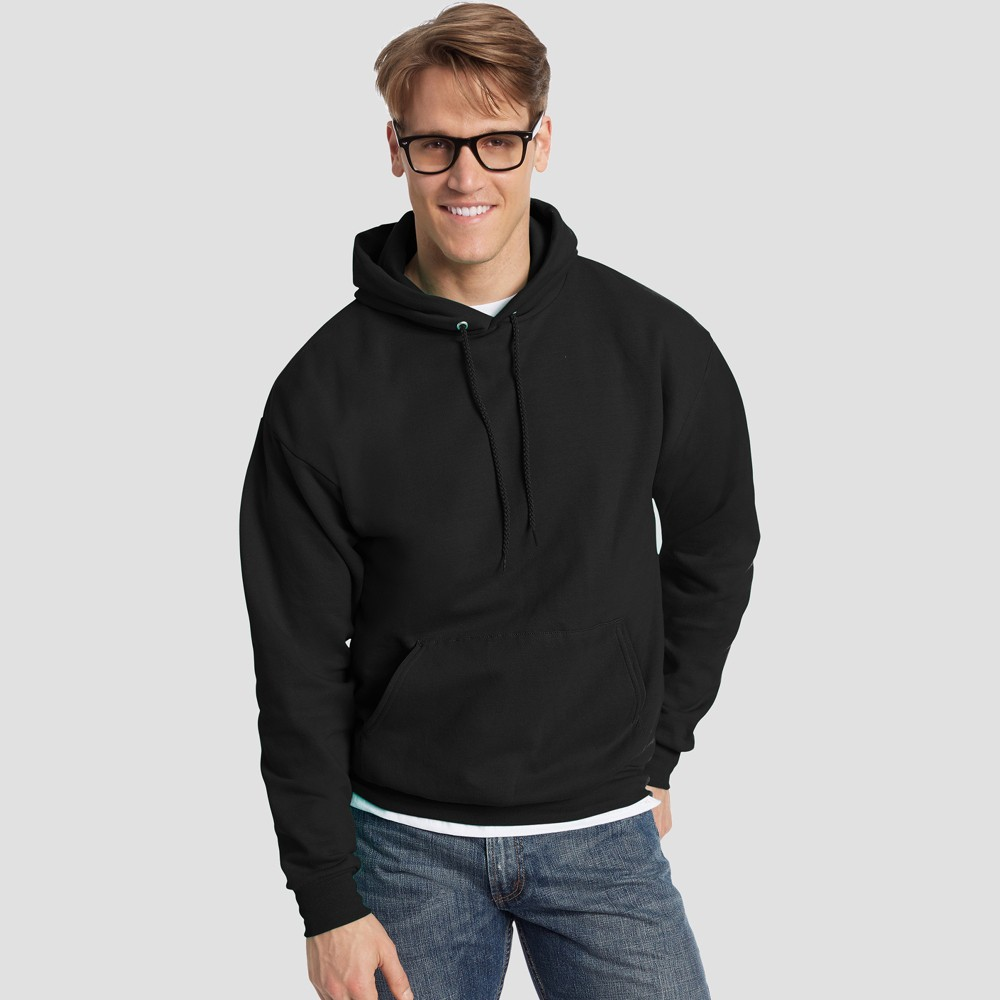 Hanes Men's EcoSmart Fleece Pullover Hooded Sweatshirt - Black 2XL