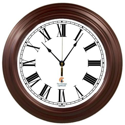 "16"" Boardroom Roman Decorative Clock Mahogany - The Chicago Lighthouse - image 1 of 3"