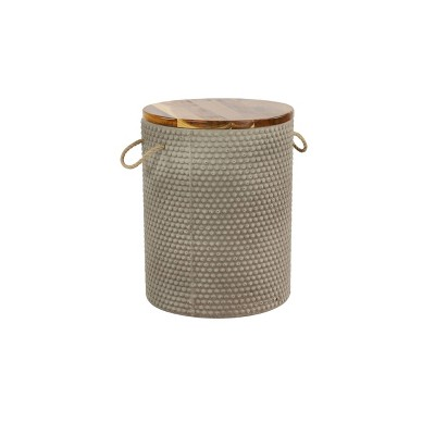 Modern Round Wood Clay Outdoor Accent Table - Gray - Olivia & May
