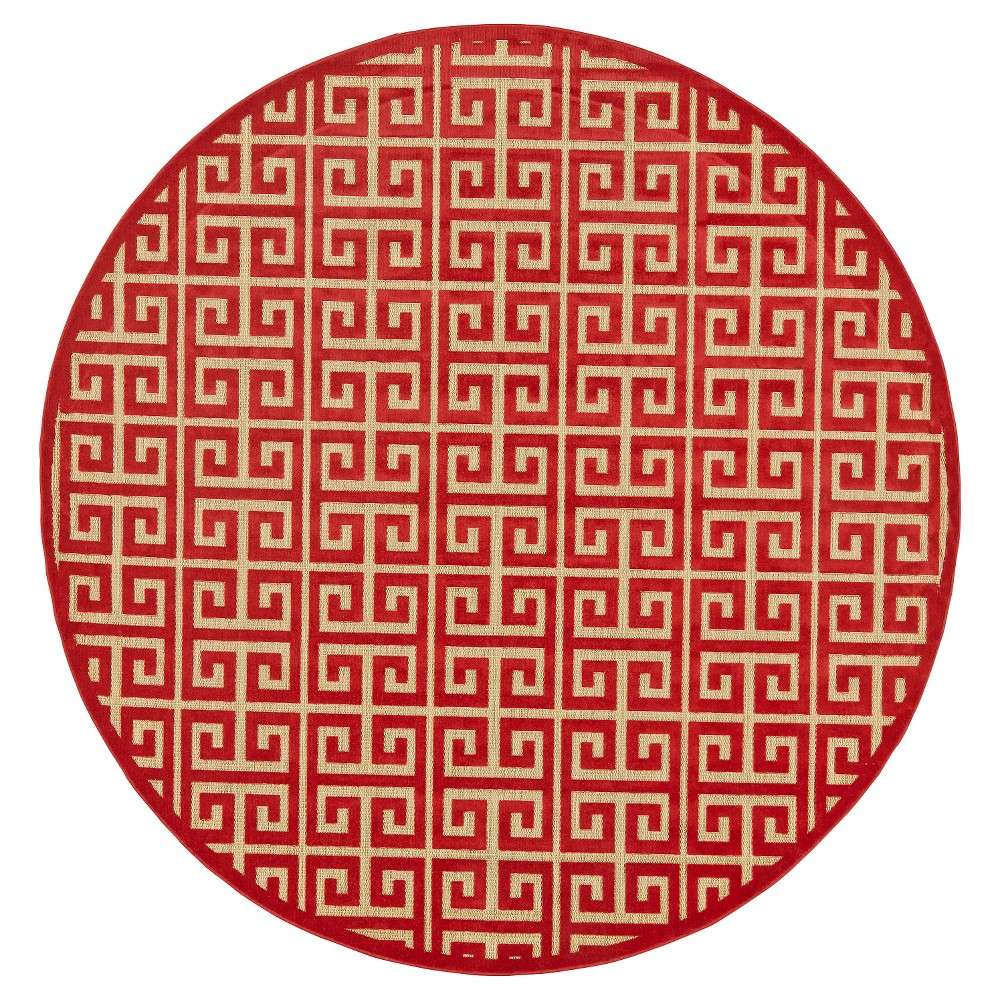 7'6 Round Geometric Loomed Round Area Rugs Tan/Red - Room Envy