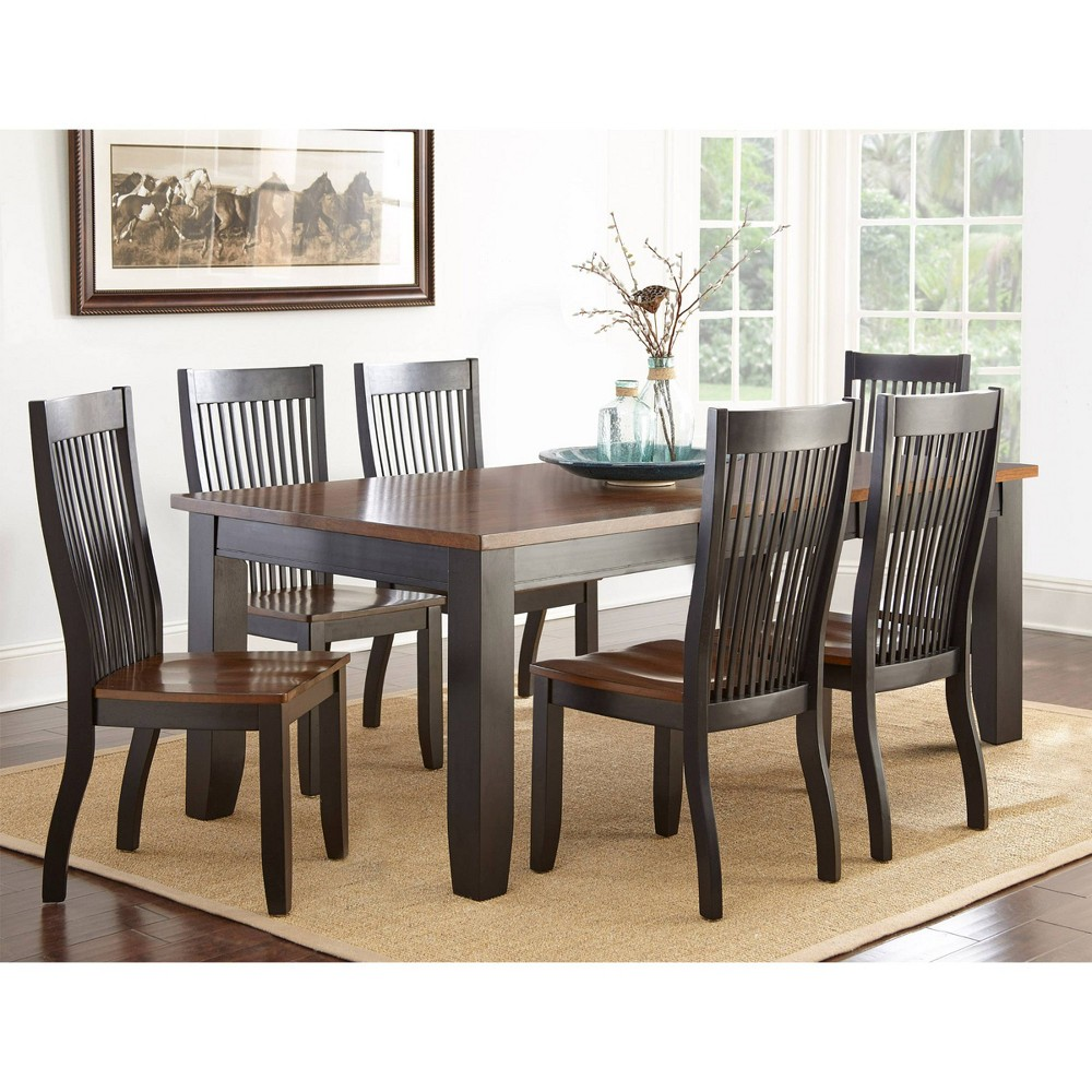 7pc Lawton Dining Set Black/Brown - Steve Silver