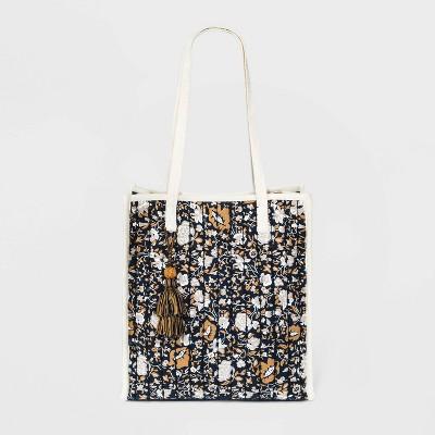 Floral Print Snap Closure Quilted Tote Handbag - Universal Thread™