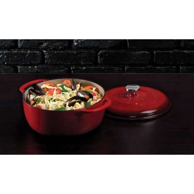 Lodge 6qt Cast Iron Enamel Dutch Oven Red
