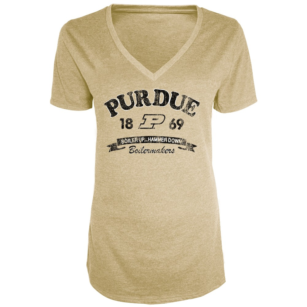 Purdue Boilermakers Women's Short Sleeve Heathered V-Neck T-Shirt - XL, Multicolored