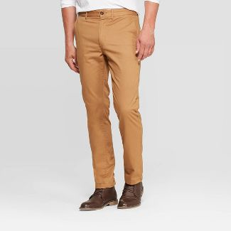 Men's Flannel-Lined Slim Chino Pants - Goodfellow & Co™ Dapper Brown 34x30