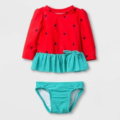 Baby Girls' Long Sleeve Watermelon Rash Guard Set - Cat & Jack™ Red 3-6M
