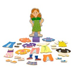 Melissa & Doug Maggie Leigh Magnetic Wooden Dress-Up Doll Pretend Play Set (25+pc)
