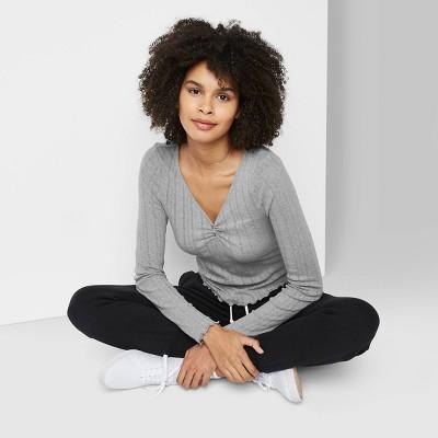 Women's Long Sleeve V-Neck Button T-Shirt - Wild Fable™