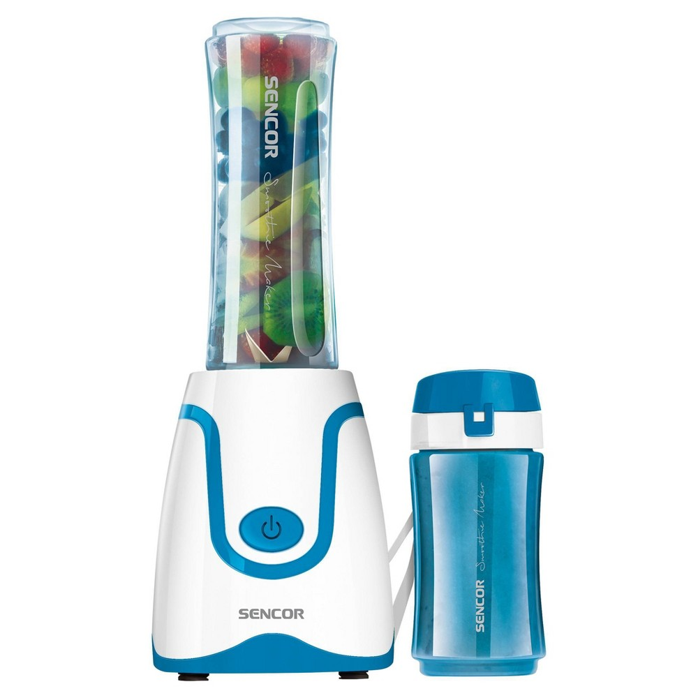 Sencor Smoothie Blender is ideal for preparing fresh fruit and fitness drinks, milkshakes, mixed beverages, soups, salsas, and baby formulas. The blending bottle can be removed and used as a travel bottle. Bottle, lid, and blades are dishwasher safe. Includes Two bottles: 2.5 cups/.6L and 1.3 cups/.3L which fit car cup holders and are made from impact-resistant BPA free Tritan. Color: Blue.