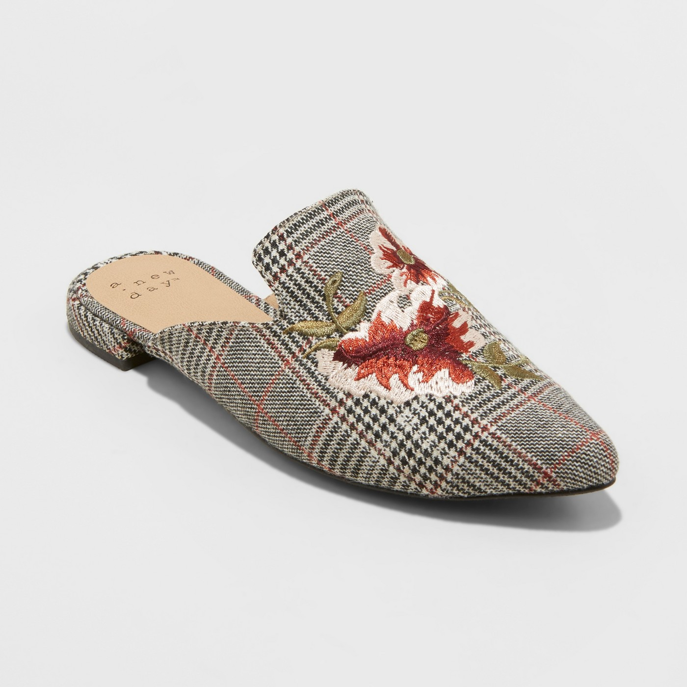 Women's Eve Plaid Embroidered Backless Mules - A New Day™ Gray - image 1 of 6