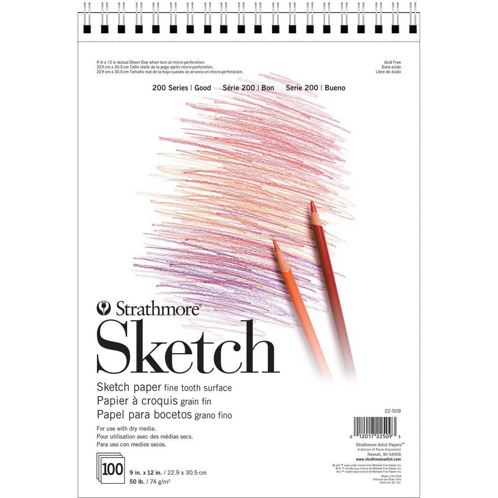 Image of Strathmore 9x12 Spiral Sketch Paper Pad - 100ct, White