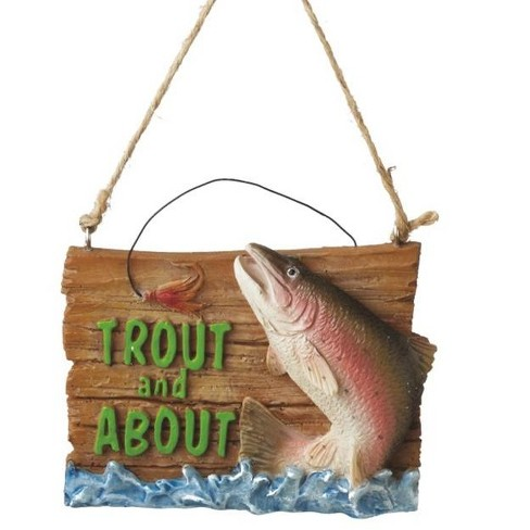 """Ganz 3.25"""" Trout and About Fishing Plaque Christmas Ornament - Green/Brown - image 1 of 1"""