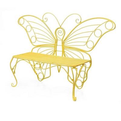 Yellow Metal Butterfly Garden Bench