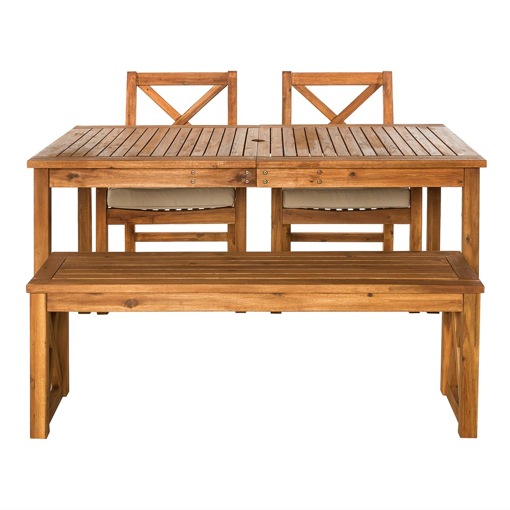 4pc Acacia Wood Simple Patio Dining Set with X-Shaped Back Brown - Saracina Home