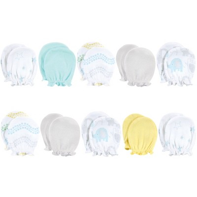 Luvable Friends Baby Boy Cotton Scratch Mittens 10pk, Basic Elephant, One Size