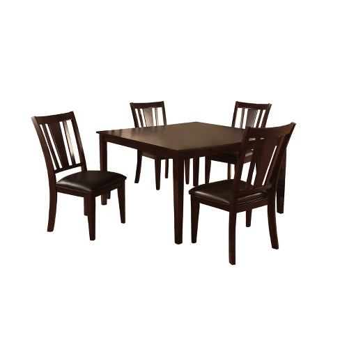 Iohomes 7pc Simple Dining Table Set Wood Espresso