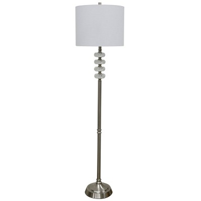 Crystal Floor Lamp with Swirl Crystal Accents Drum Shade Silver - StyleCraft