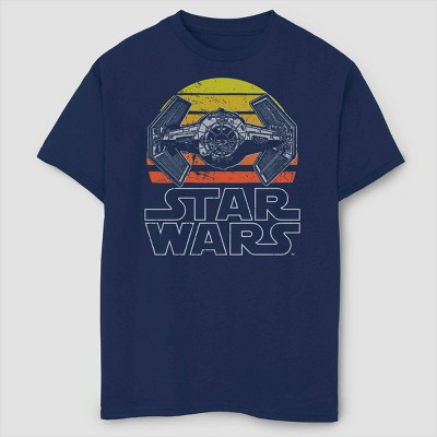 Boys' A New Hope Episode 4 Tie Fighter Sunset T-Shirt - Navy