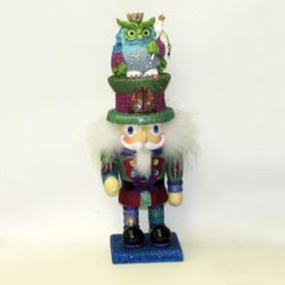 "Kurt S. Adler 15"" Deep Purple, Green and Blue  Wonderland Owl King Wooden Christmas Hollywood Nutcracker"