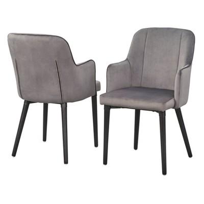 Set of 2 Welland Arm Dining Chairs Gray - Lifestorey