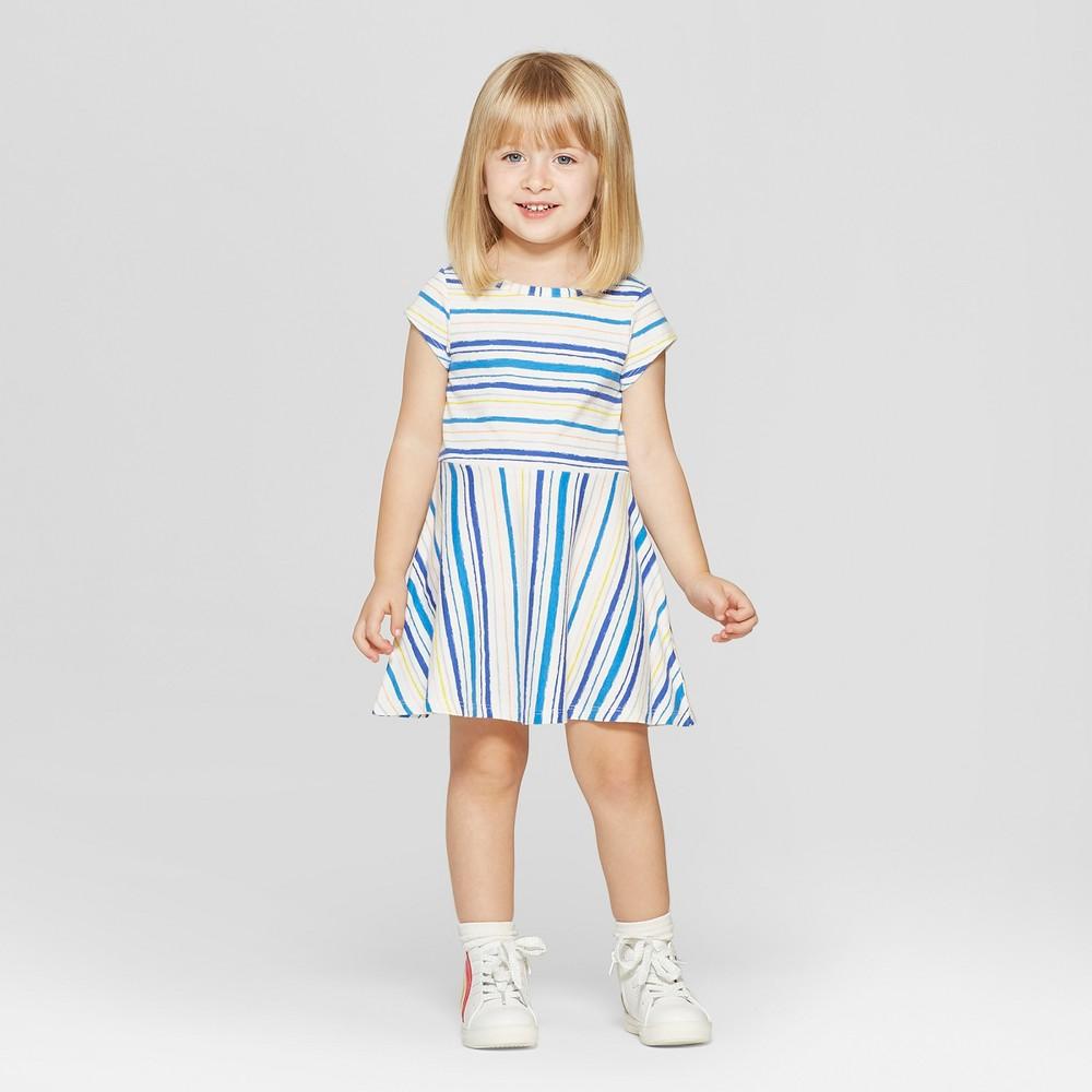 Toddler Girls' Short Sleeve Stripe All Over Print Dress - Cat & Jack Cream 5T, White