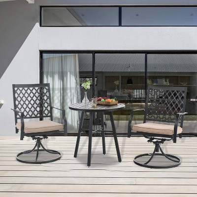 3pc Patio Set with 2 Swivel Chairs & Round Table - Black - Captiva Designs