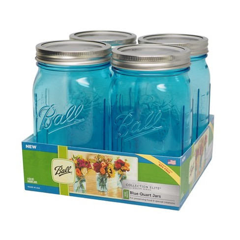 Ball 4ct Collection Elite Gl Mason Jar With Lid And Band Blue Wide Mouth Target
